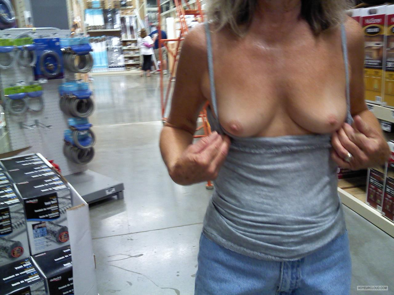 Tit Flash: Wife's Tanlined Small Tits - Judy from United States