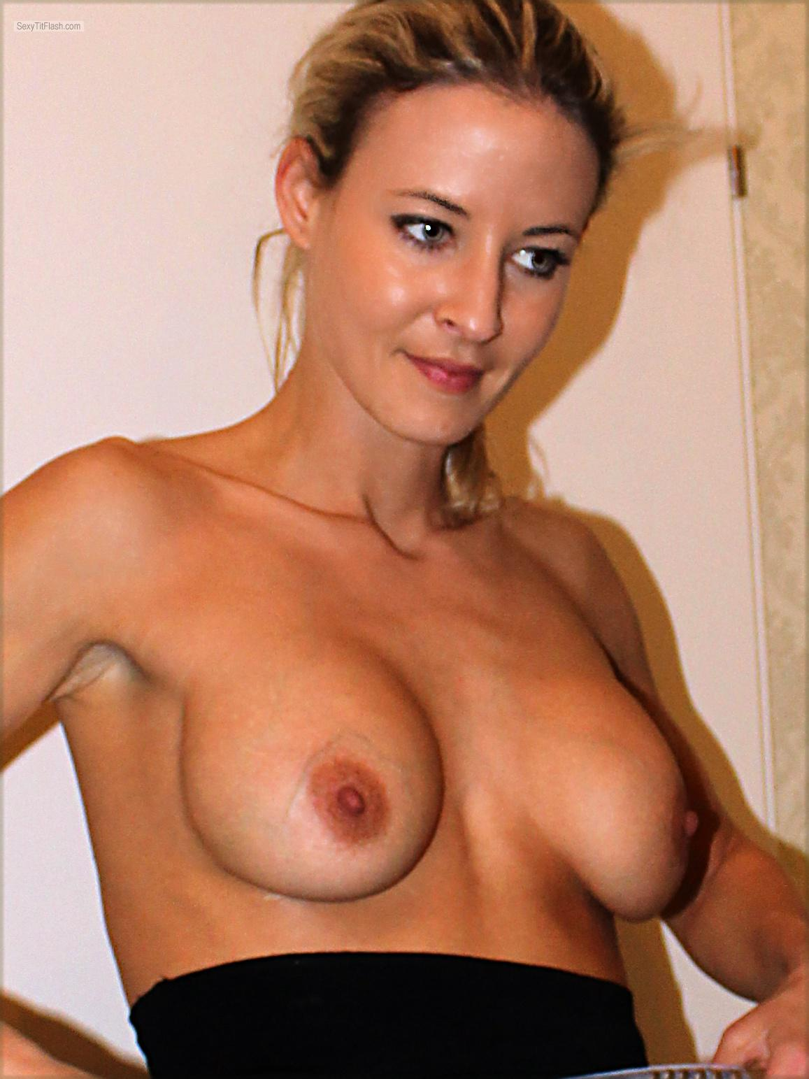 Tit Flash: My Medium Tits - Topless Marie from France
