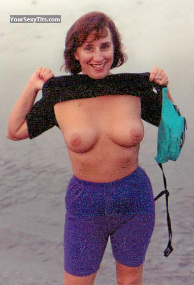 Tit Flash: Wife's Medium Tits - Topless Shorty from United States