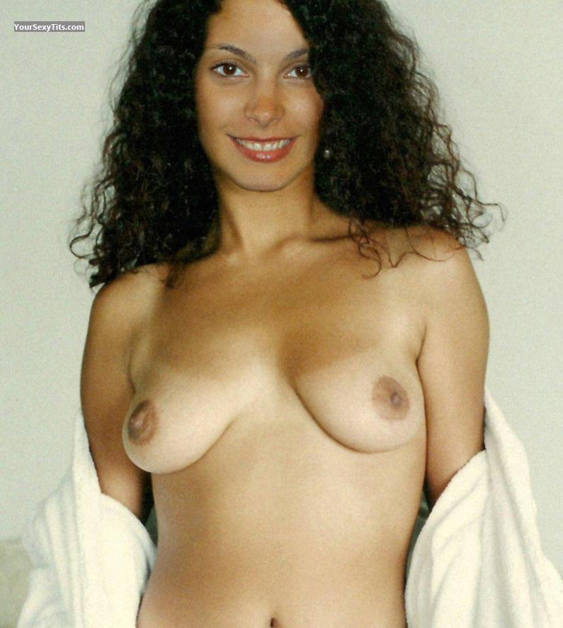 Tit Flash: Medium Tits - Topless Morena B from United States