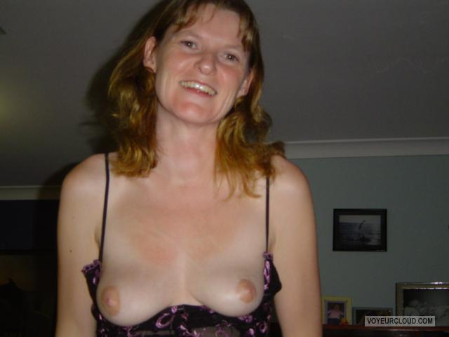 Tit Flash: Girlfriend's Very Small Tits - Topless Thermo Puss from Australia