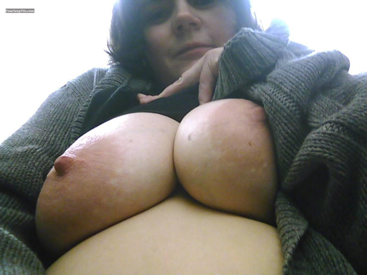 Tit Flash: My Medium Tits (Selfie) - Topless Stargazer from United States