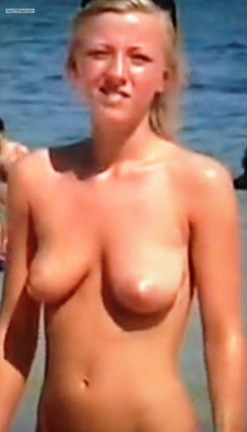 Tit Flash: Small Tits By IPhone - Topless Trisha from United States