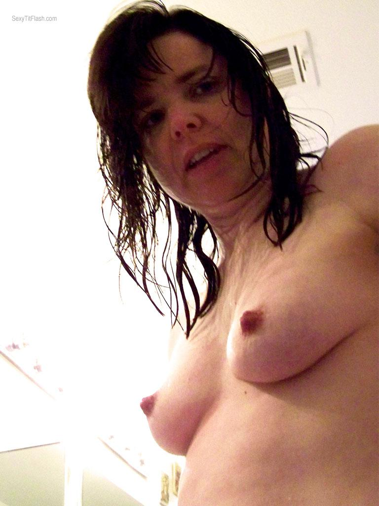 Tit Flash: Wife's Small Tits (Selfie) - Topless Realtilf3 from United States