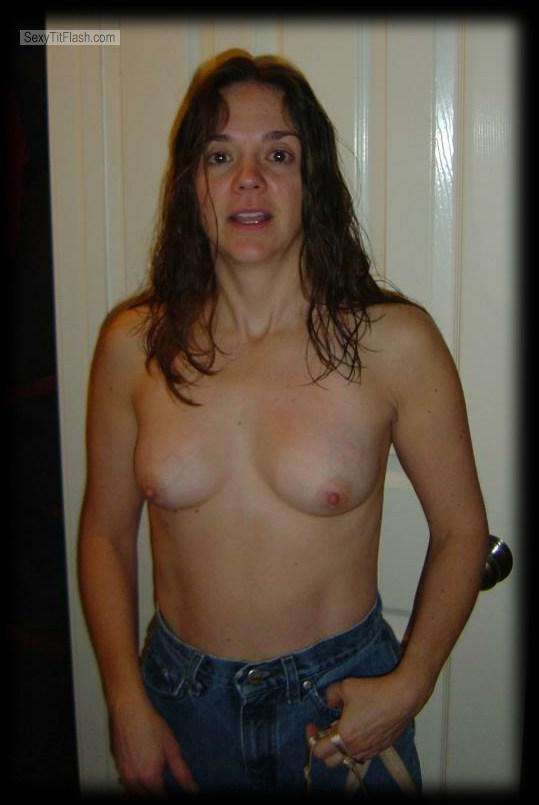 Tit Flash: Room Mate's Small Tits - Topless Friend from United States