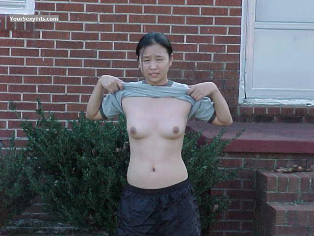 Tit Flash: Small Tits - Topless Sharon from United States