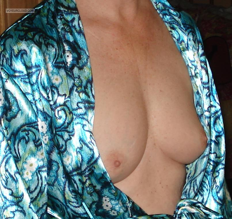 Tit Flash: Wife's Small Tits - Bashful Granny from United States