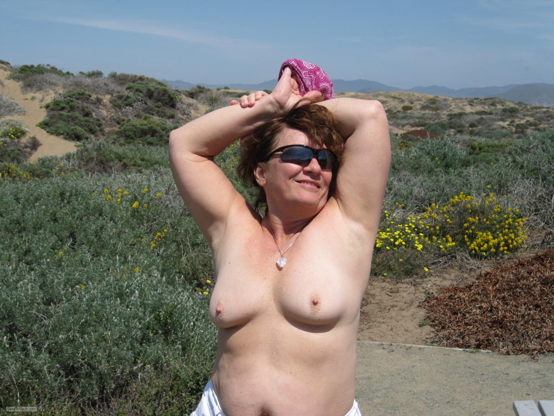 Tit Flash: My Tanlined Small Tits - Topless Karenkri from United States