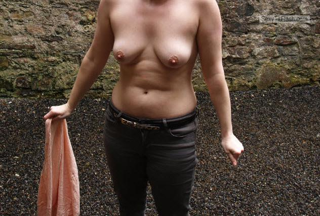Tit Flash: Wife's Small Tits - PJ. from United Kingdom