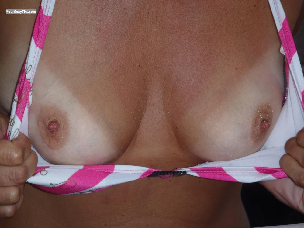 Tit Flash: Wife's Small Tits With Strong Tanlines - Onehappy2010 from Netherlands
