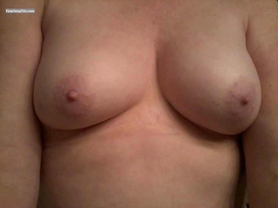 Tit Flash: Wife's Small Tits (Selfie) - BJ from United States