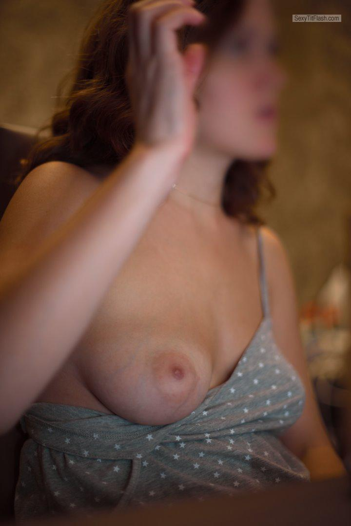 Tit Flash: Wife's Tanlined Small Tits - Eliza from France