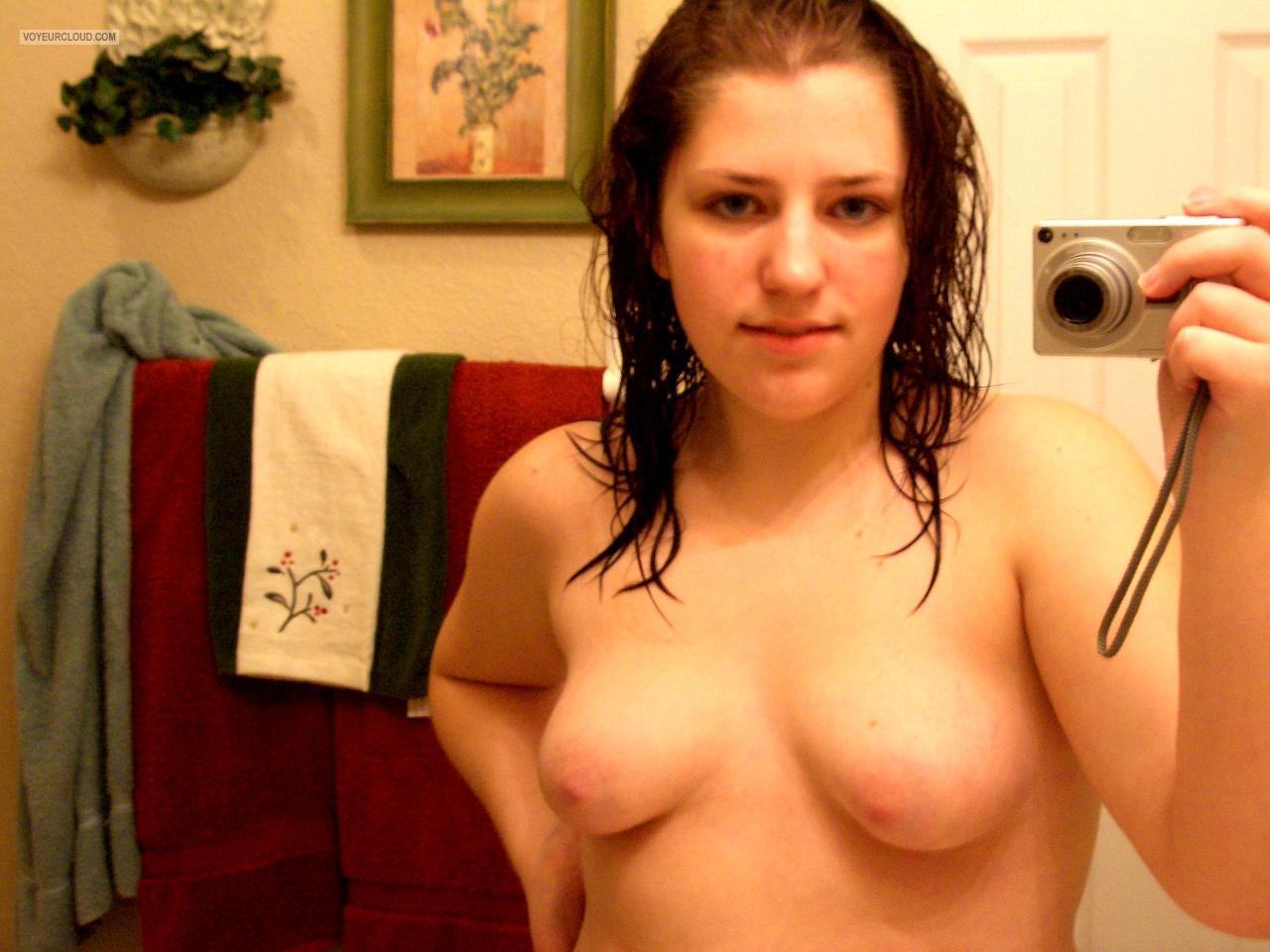 Tit Flash: My Small Tits (Selfie) - Topless Kimberly Owens from United States