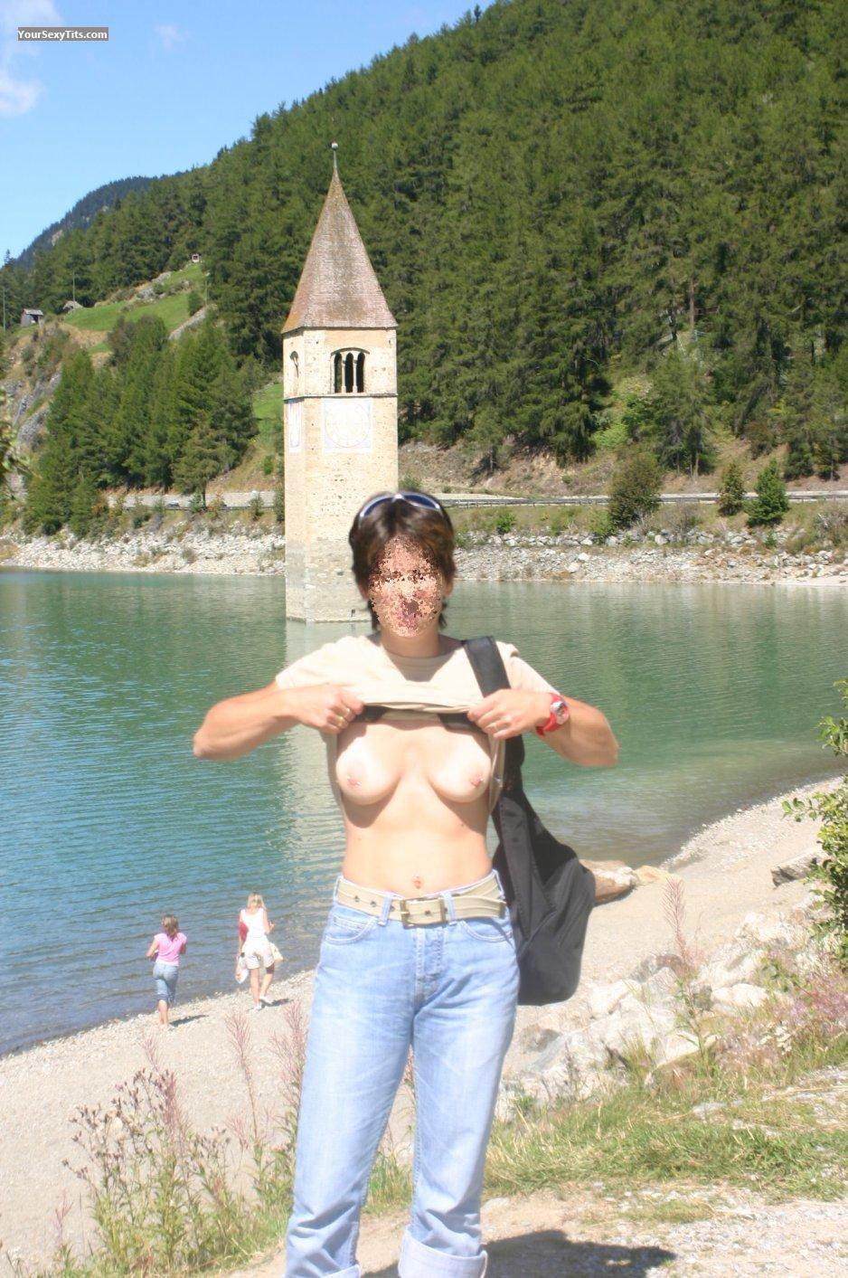 Tit Flash: Small Tits - Babe11 from AustriaPierced Nipples