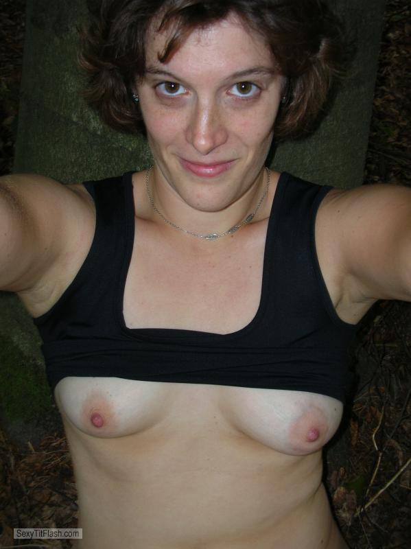 Tit Flash: Girlfriend's Small Tits (Selfie) - Topless Calamity from Germany