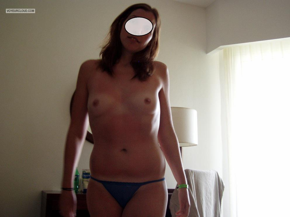 Tit Flash: Wife's Tanlined Small Tits - Sarah from United States