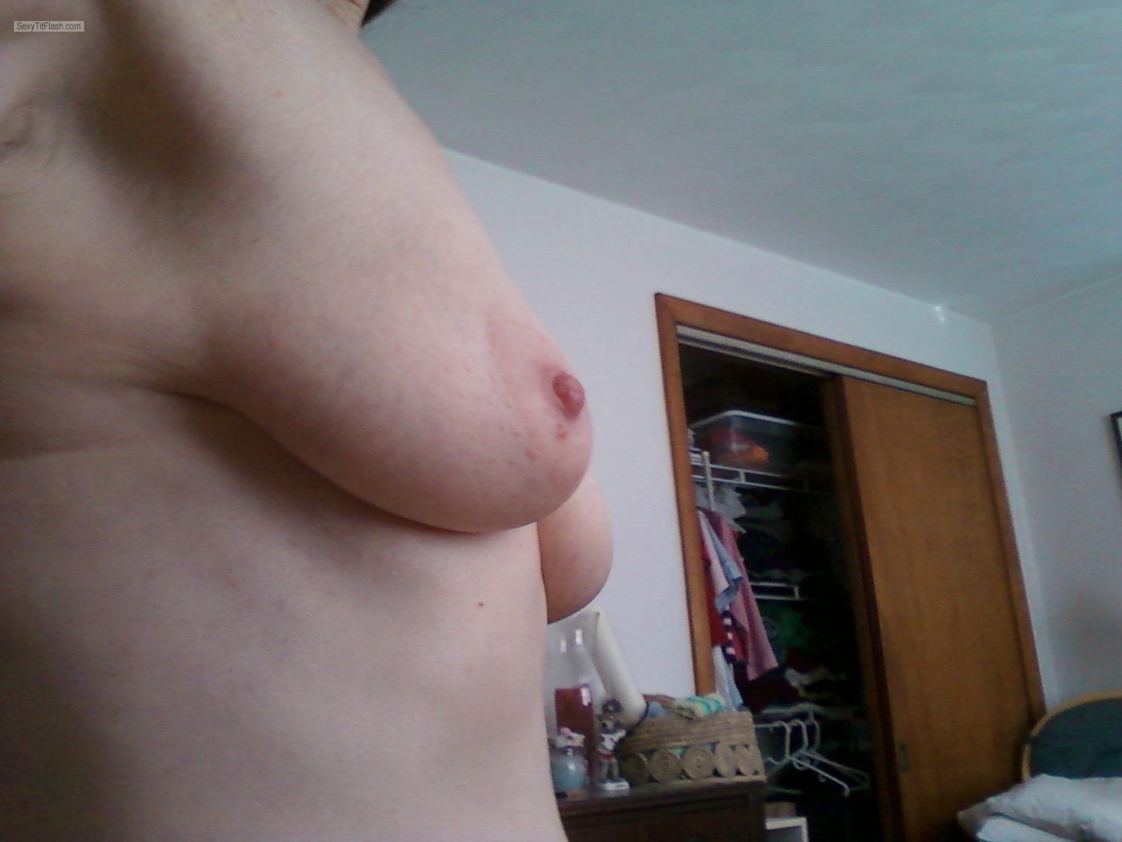 Tit Flash: My Coworker's Small Tits (Selfie) - Weatherwitch from United States