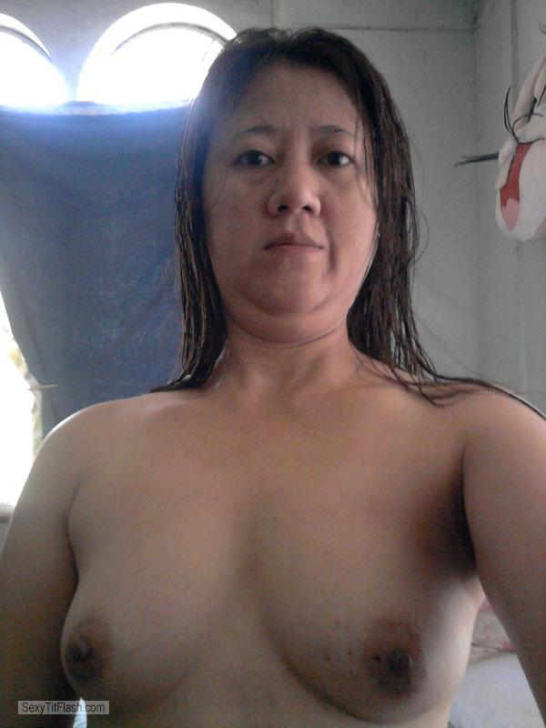 Tit Flash: Girlfriend's Small Tits (Selfie) - Topless Mai from United States