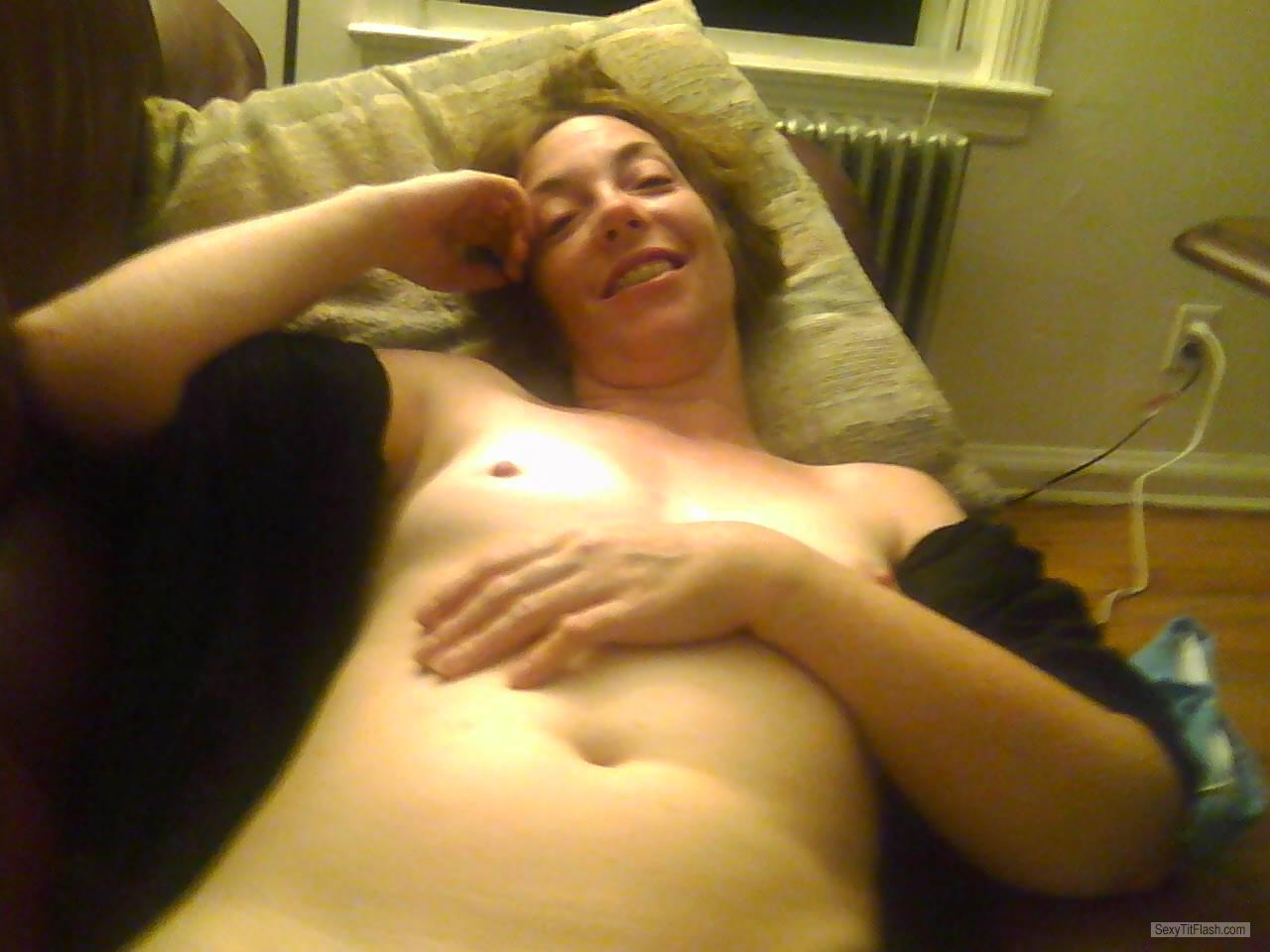 Tit Flash: Wife's Small Tits - Topless Addie from United States