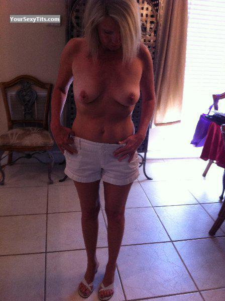 Tit Flash: Wife's Small Tits - Blondie from United States