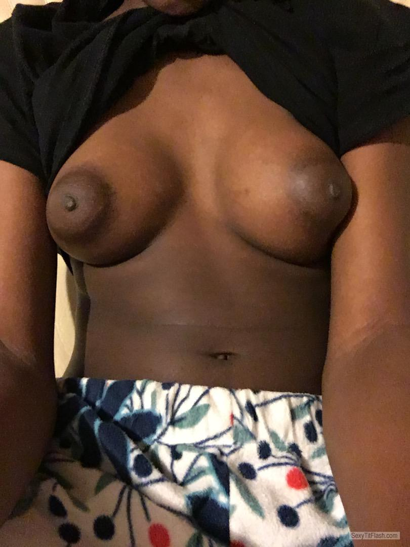 Tit Flash: Room Mate's Small Tits (Selfie) - Melanin Baddie from Canada