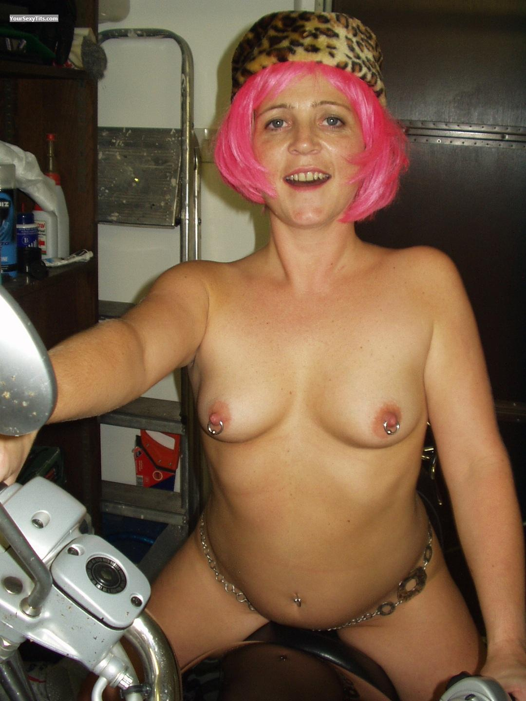 Tit Flash: Small Tits - Topless Pagan Pixie from United KingdomPierced Nipples