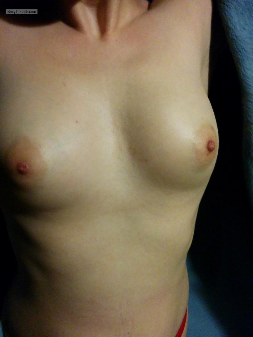 Tit Flash: Girlfriend's Small Tits - Topless Claudia from Canada