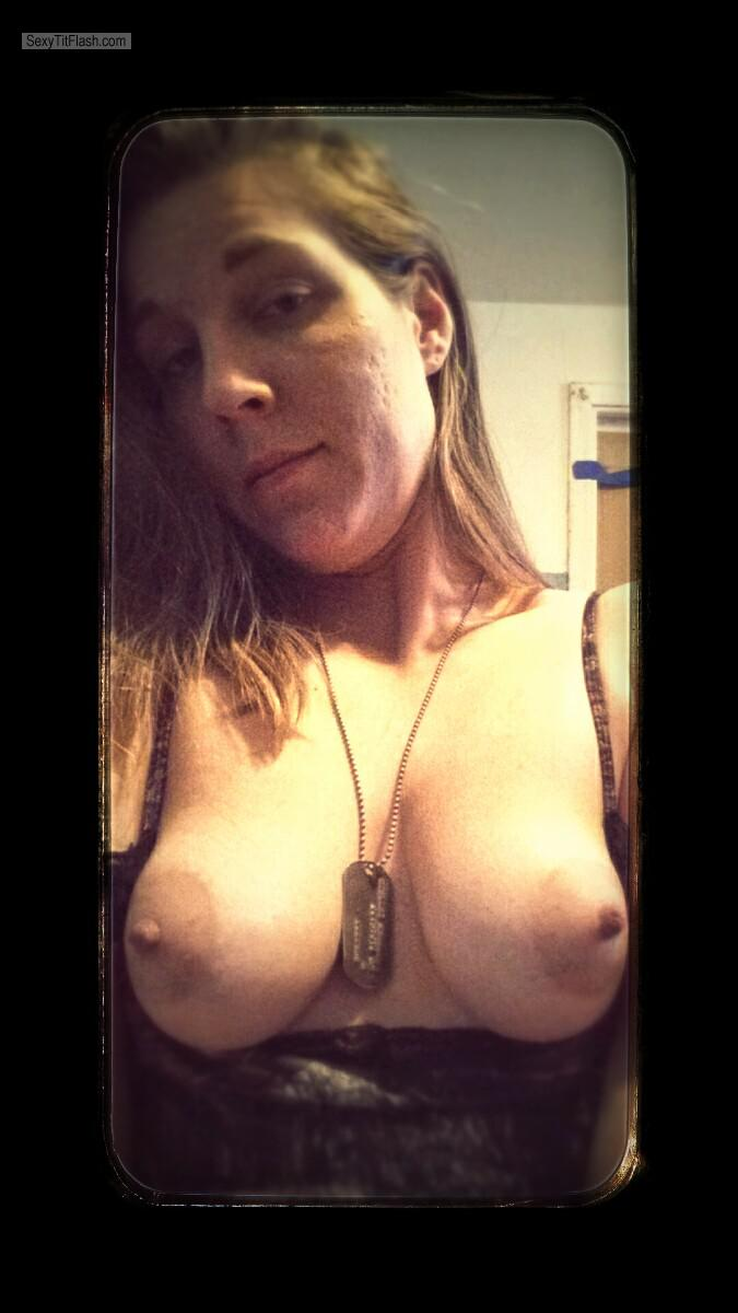 Tit Flash: My Small Tits (Selfie) - Topless Linnea from United States