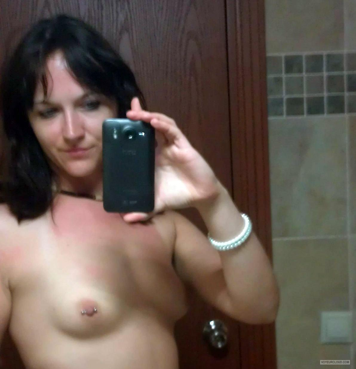 Tit Flash: My Tanlined Small Tits (Selfie) - Topless Pepsi from GermanyPierced Nipples