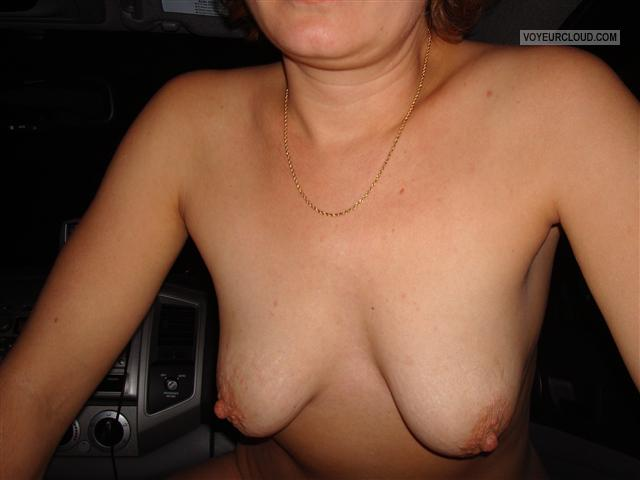 Tit Flash: Wife's Small Tits - Wife Tits In Car from United States