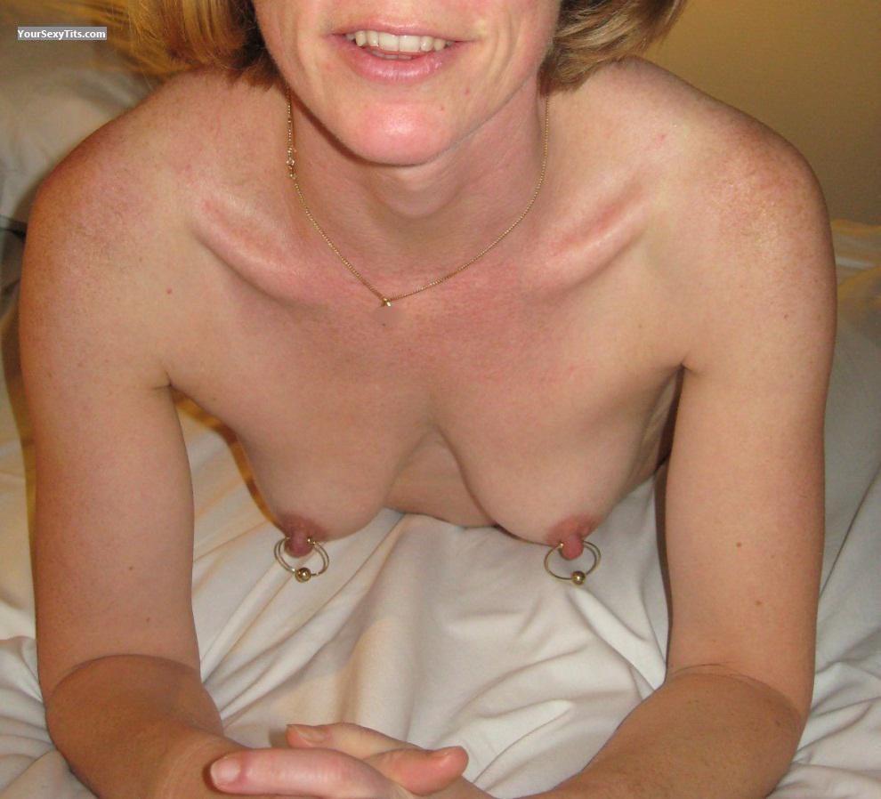 Tit Flash: Wife's Small Tits - Cathy from FrancePierced Nipples