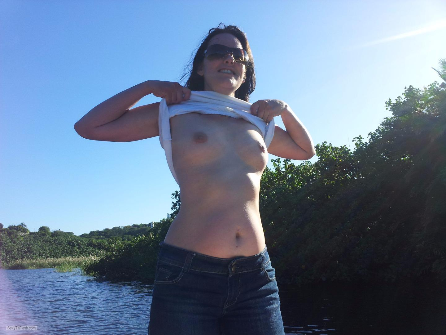Tit Flash: My Small Tits - Topless Tits In The Sun from South Africa