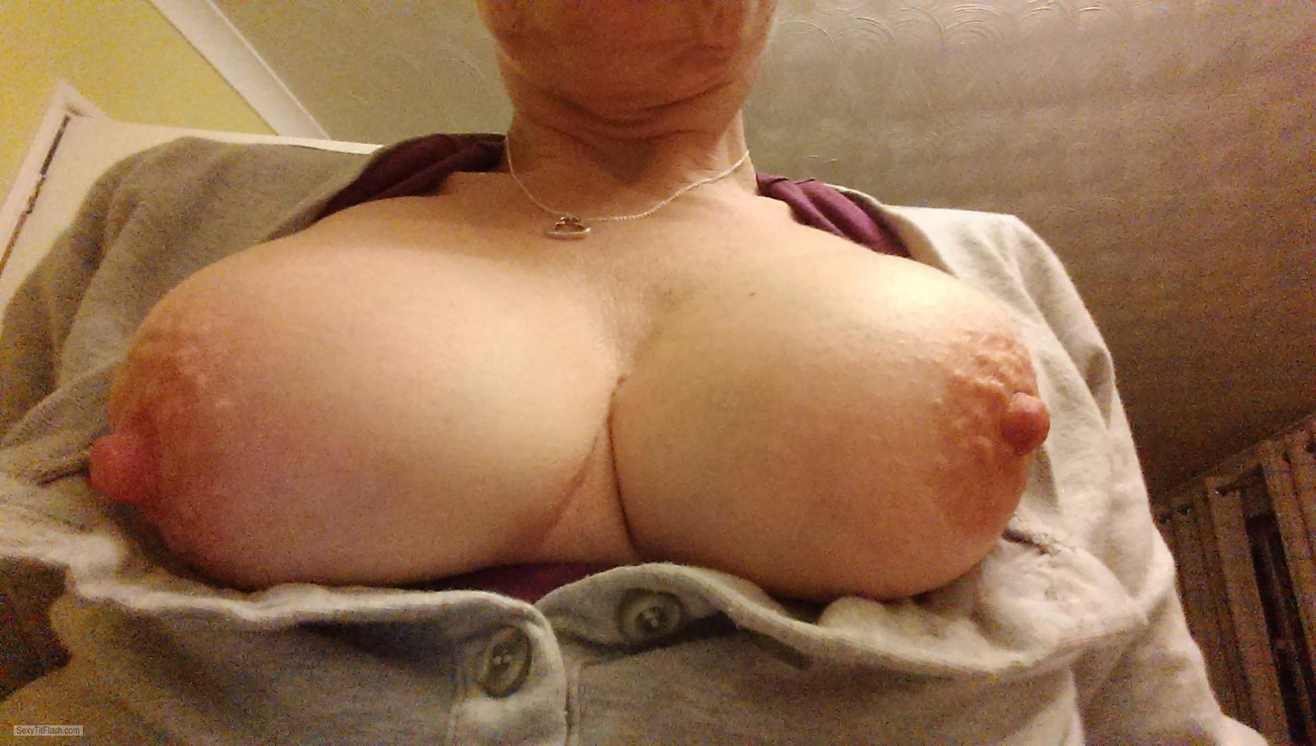 Tit Flash: My Medium Tits (Selfie) - A Wife from United Kingdom