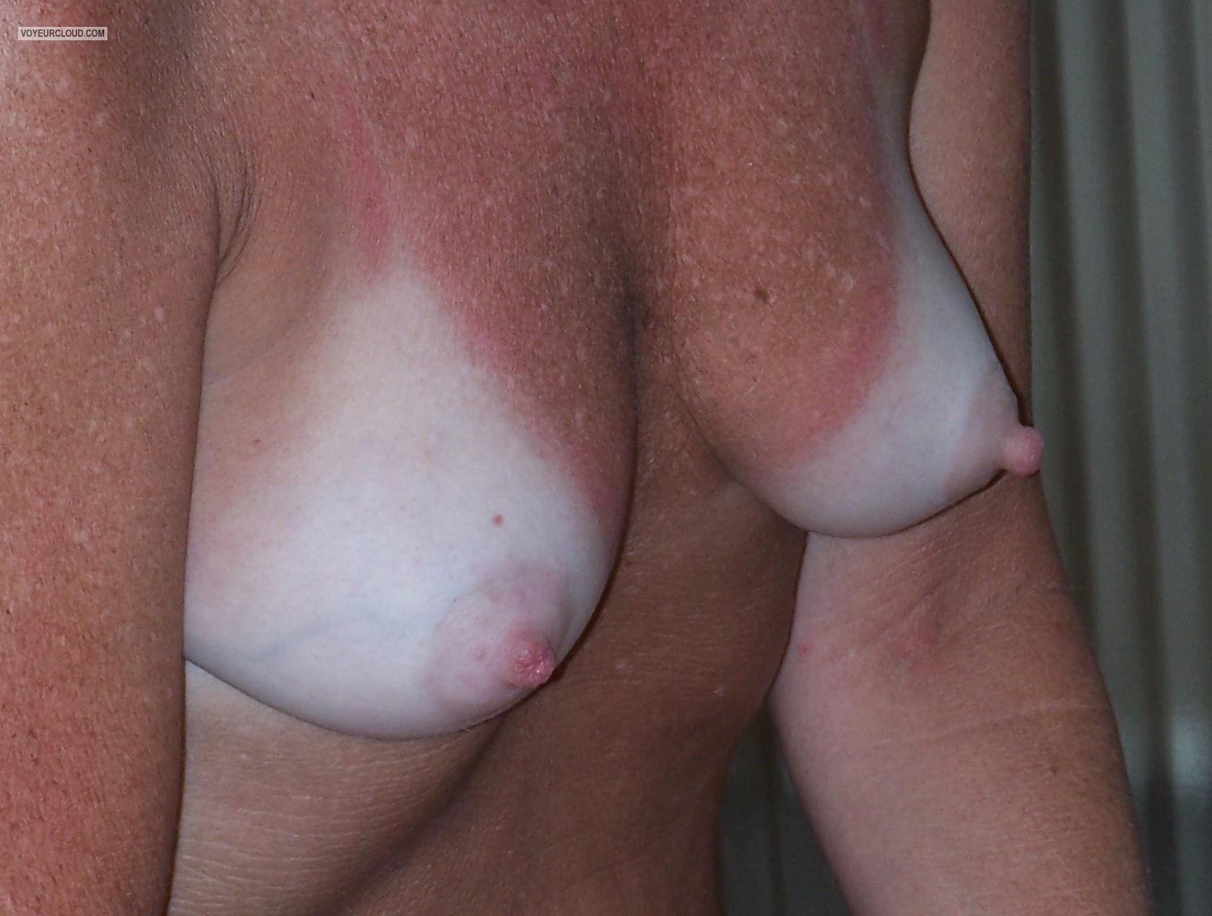 Tit Flash: My Small Tits With Very Strong Tanlines - Mitzi from United States