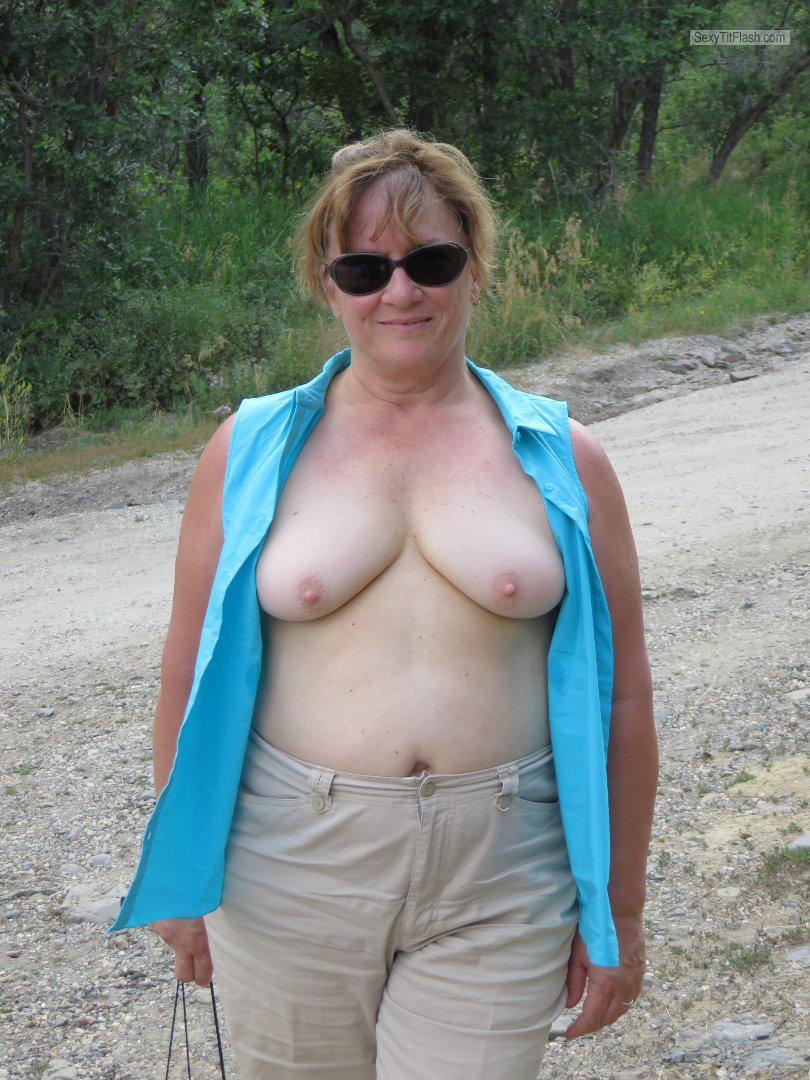 Tit Flash: My Medium Tits - Topless Karenkri from United States
