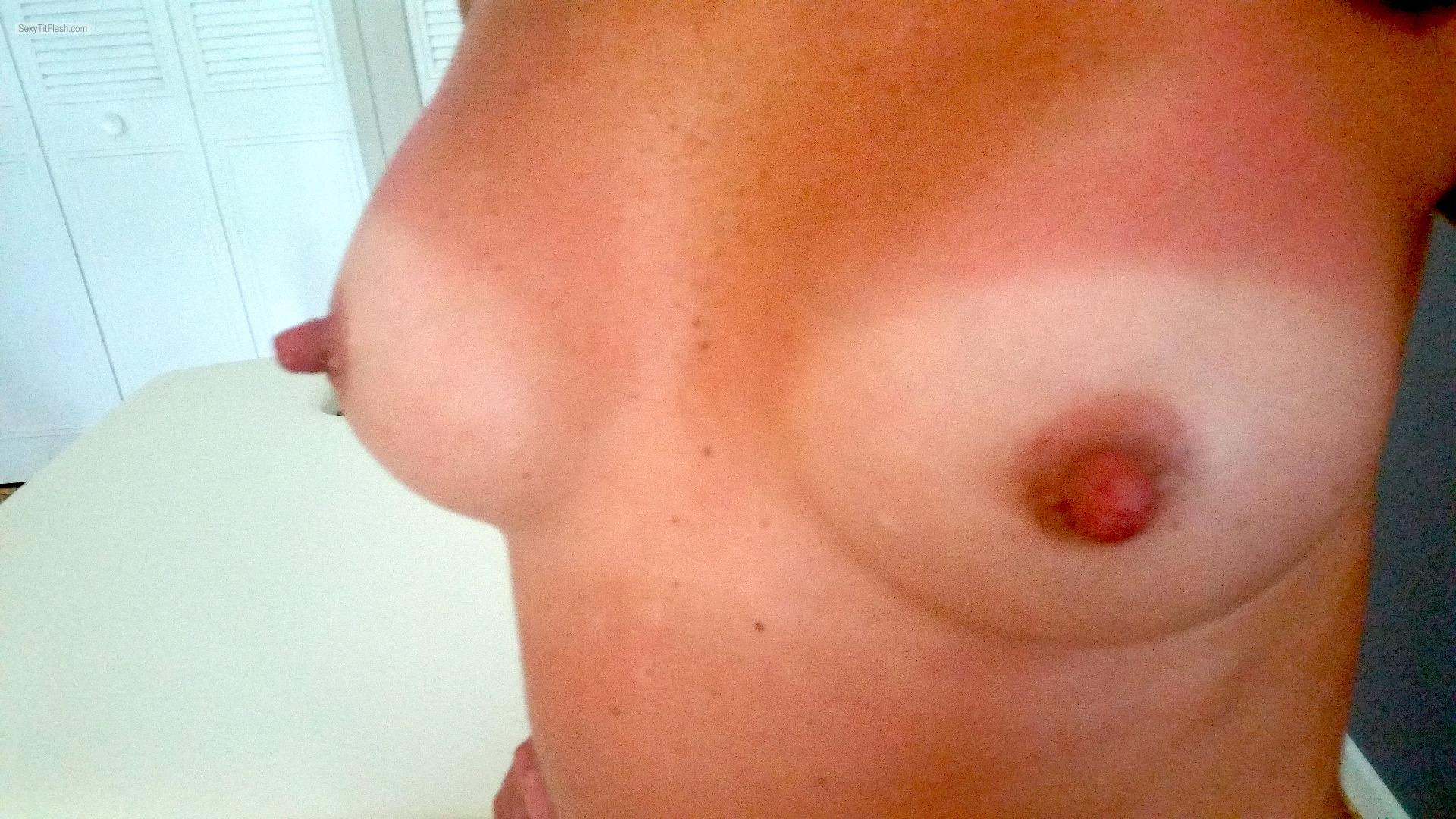 Tit Flash: My Tanlined Small Tits - Long Nipple Princess from United States