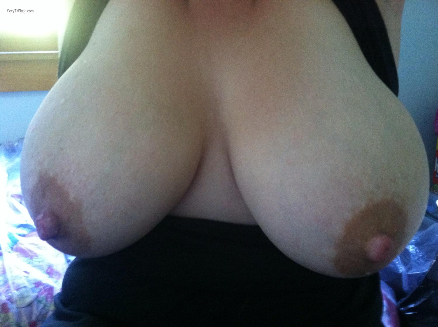 Tit Flash: My Very Big Tits By IPhone (Selfie) - Milky Jugs from