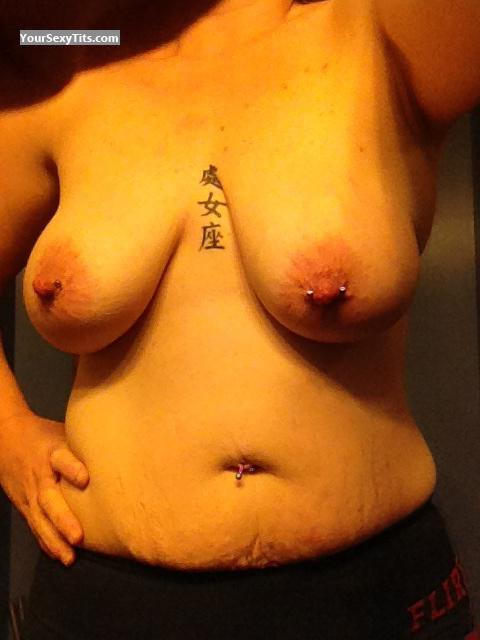 Tit Flash: My Very Big Tits By IPhone (Selfie) - Henrik from United StatesPierced Nipples
