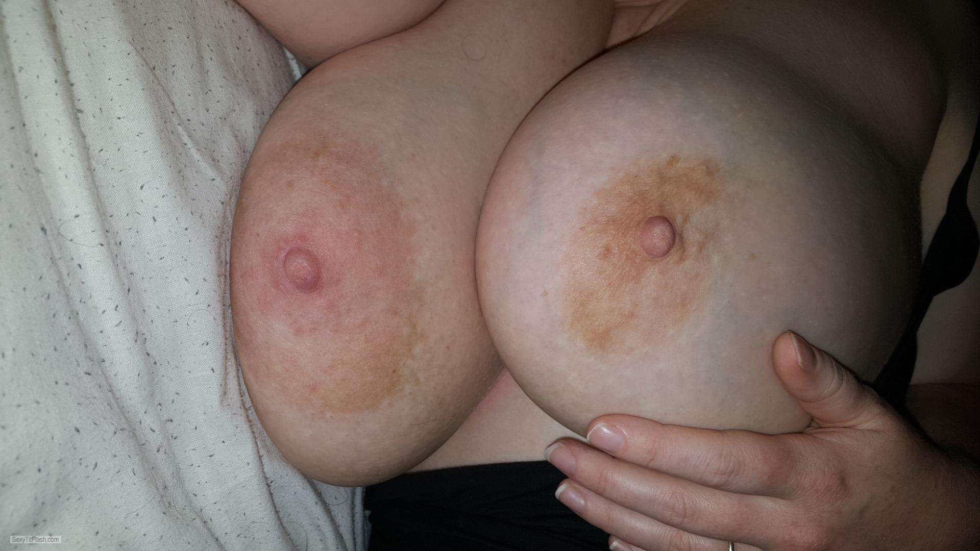 Tit Flash: Girlfriend's Very Big Tits - My Fiancé Bit Tits from United Kingdom