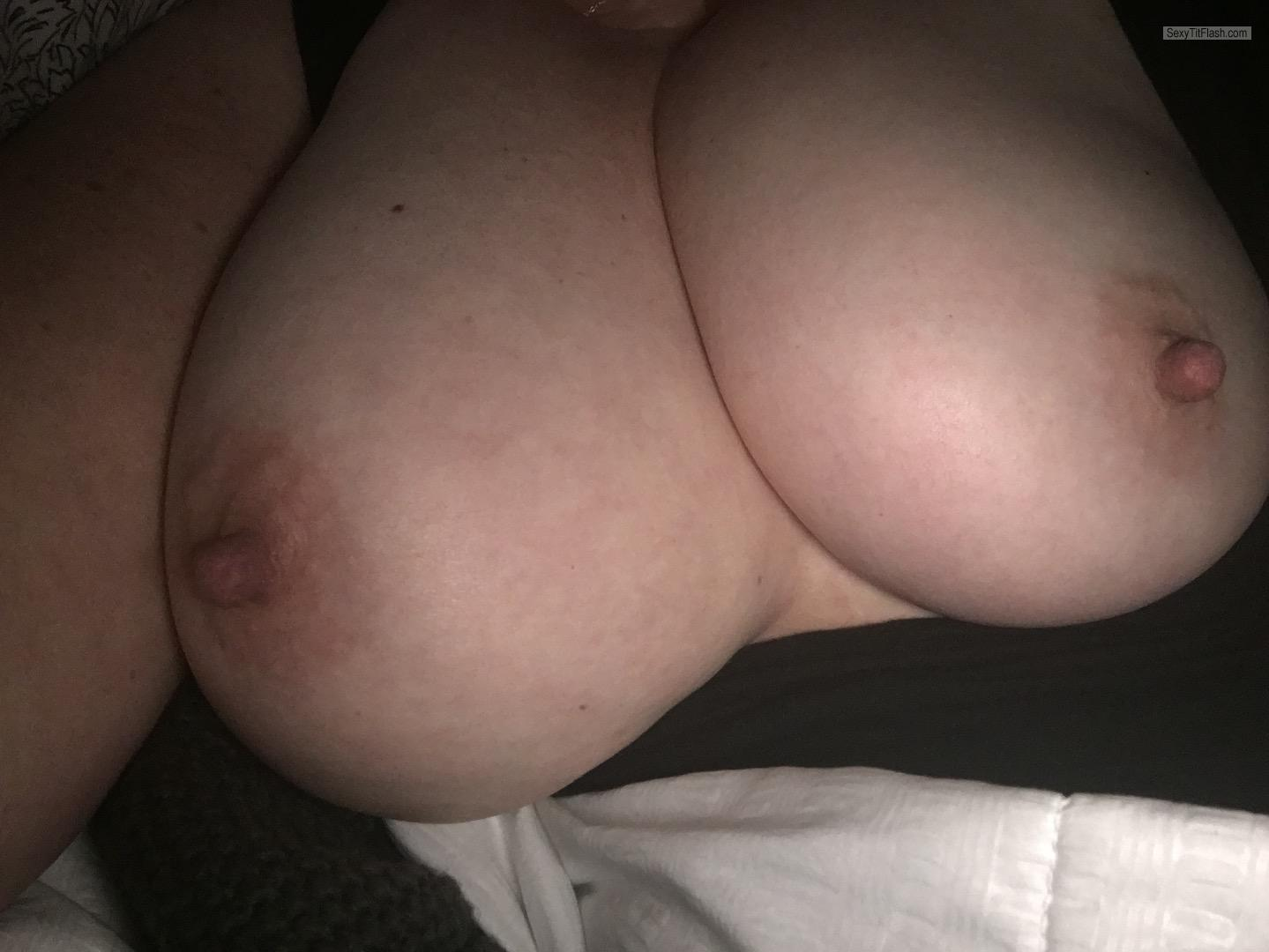Amateur flashes her big tits and banged 10