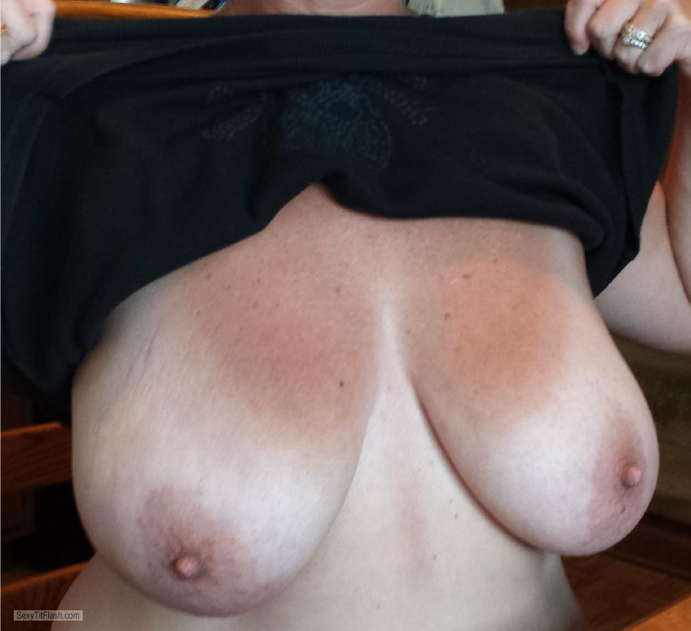 Tit Flash: Wife's Tanlined Very Big Tits - Jenny4793 from United States