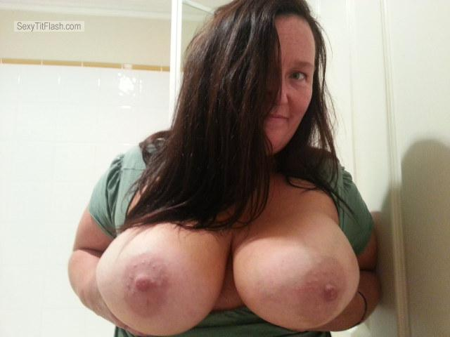 Tit Flash: My Extremely Big Tits - Topless Maryanne from Australia