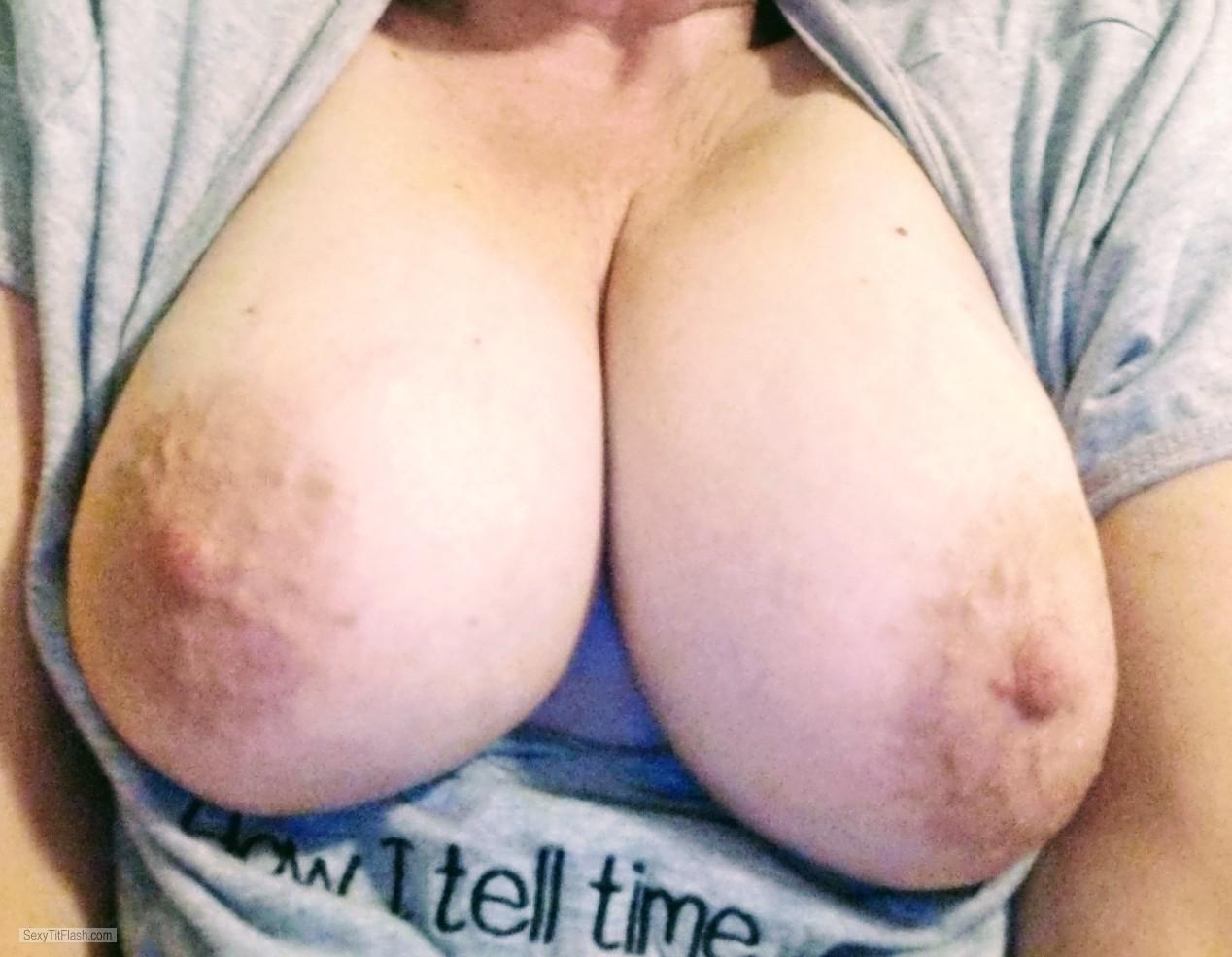 Tit Flash: My Tanlined Very Big Tits (Selfie) - MILF123 from United States