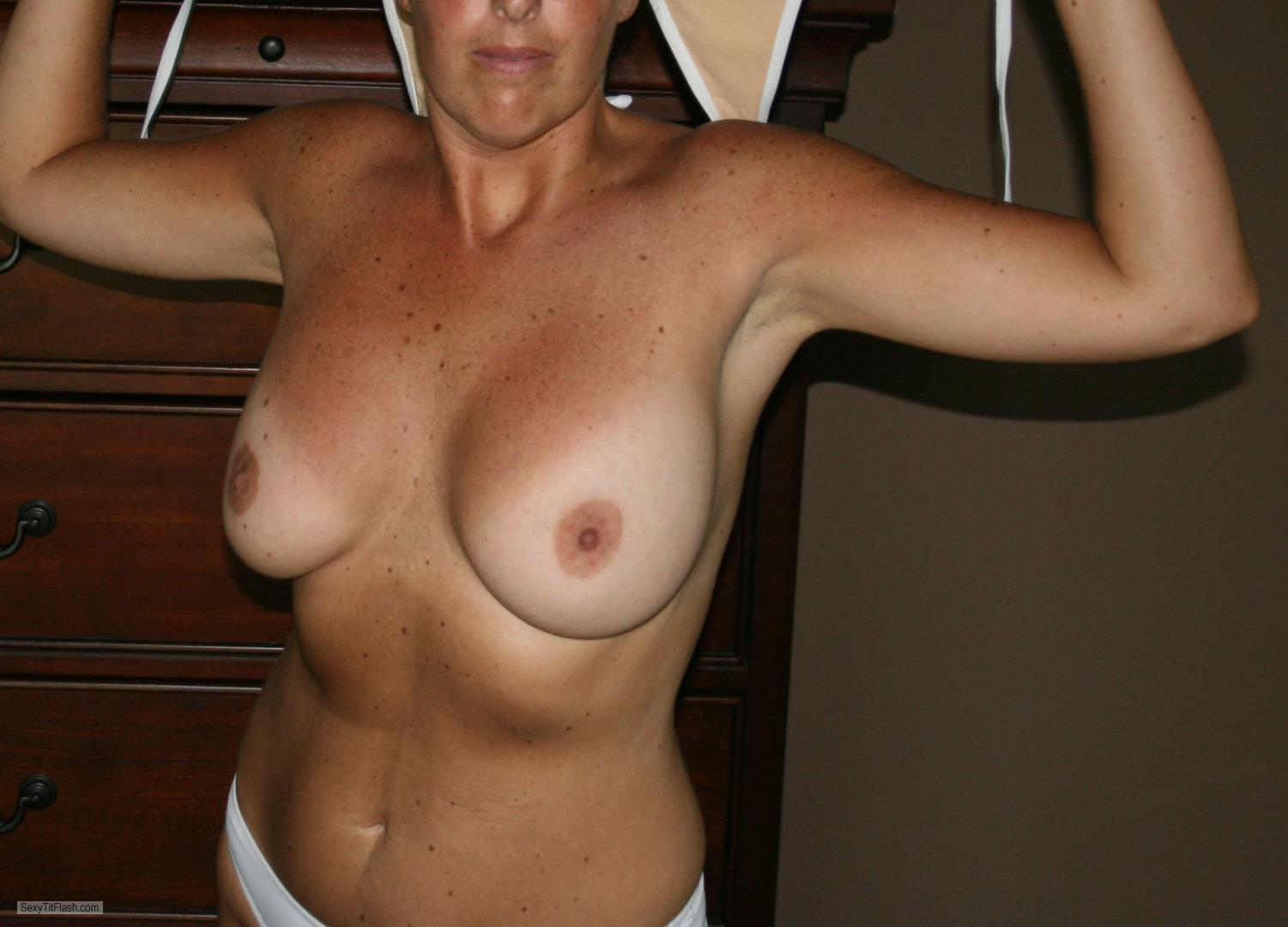 Tit Flash: Wife's Tanlined Very Big Tits - Jimanddi from United States