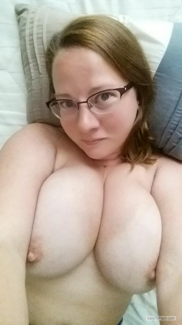 Tit Flash: Room Mate's Tanlined Very Big Tits (Selfie) - Topless Zsaz from United Kingdom