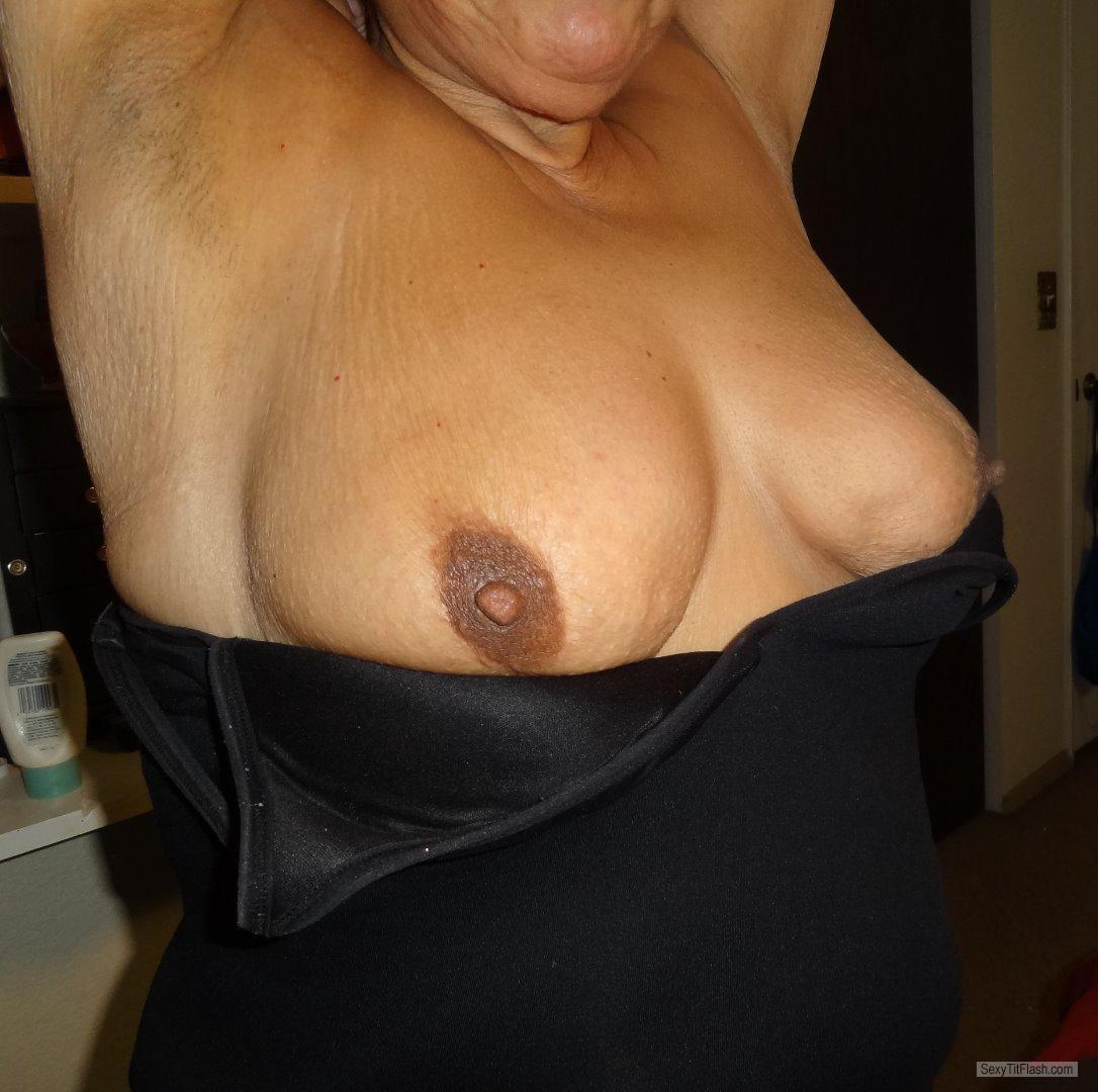Tit Flash: Girlfriend's Tanlined Very Big Tits - Karentits from United States