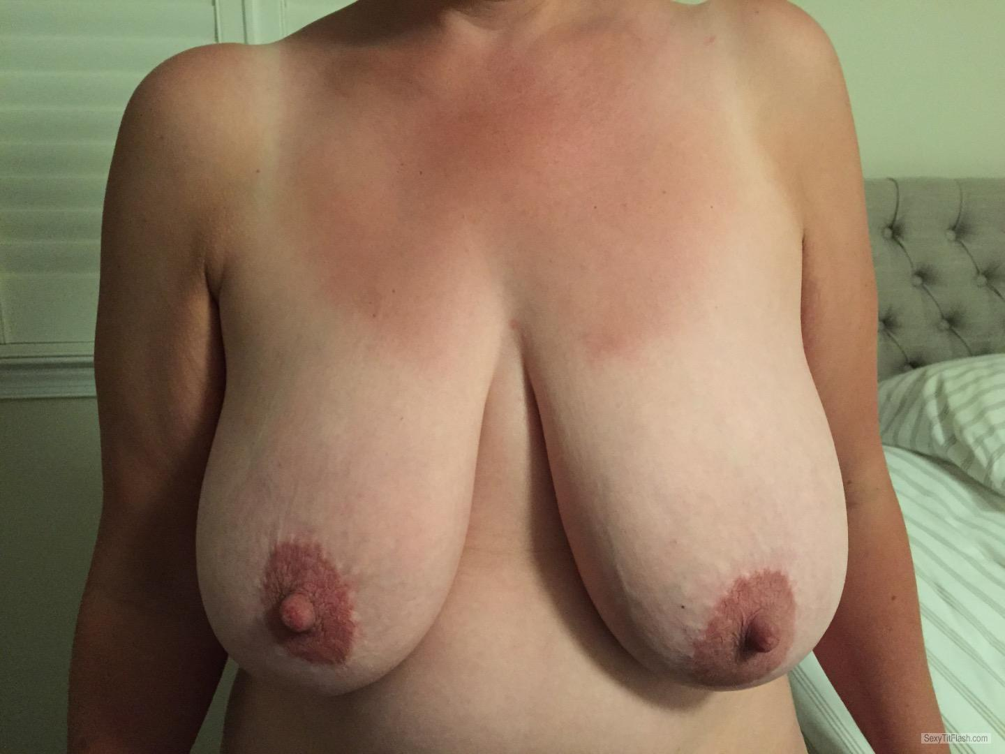 Tit Flash: My Tanlined Very Big Tits - JJ from United States