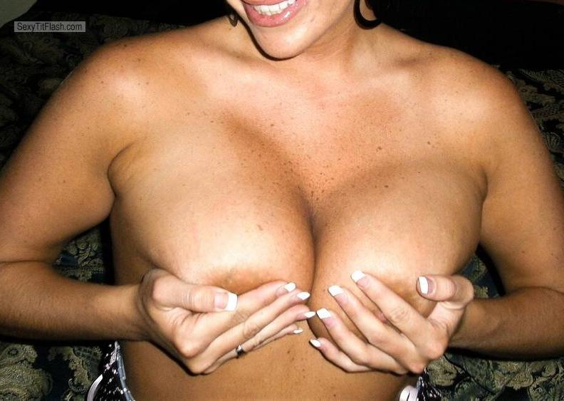 Tit Flash: My Tanlined Very Big Tits - Me And My Hand Bra from United States