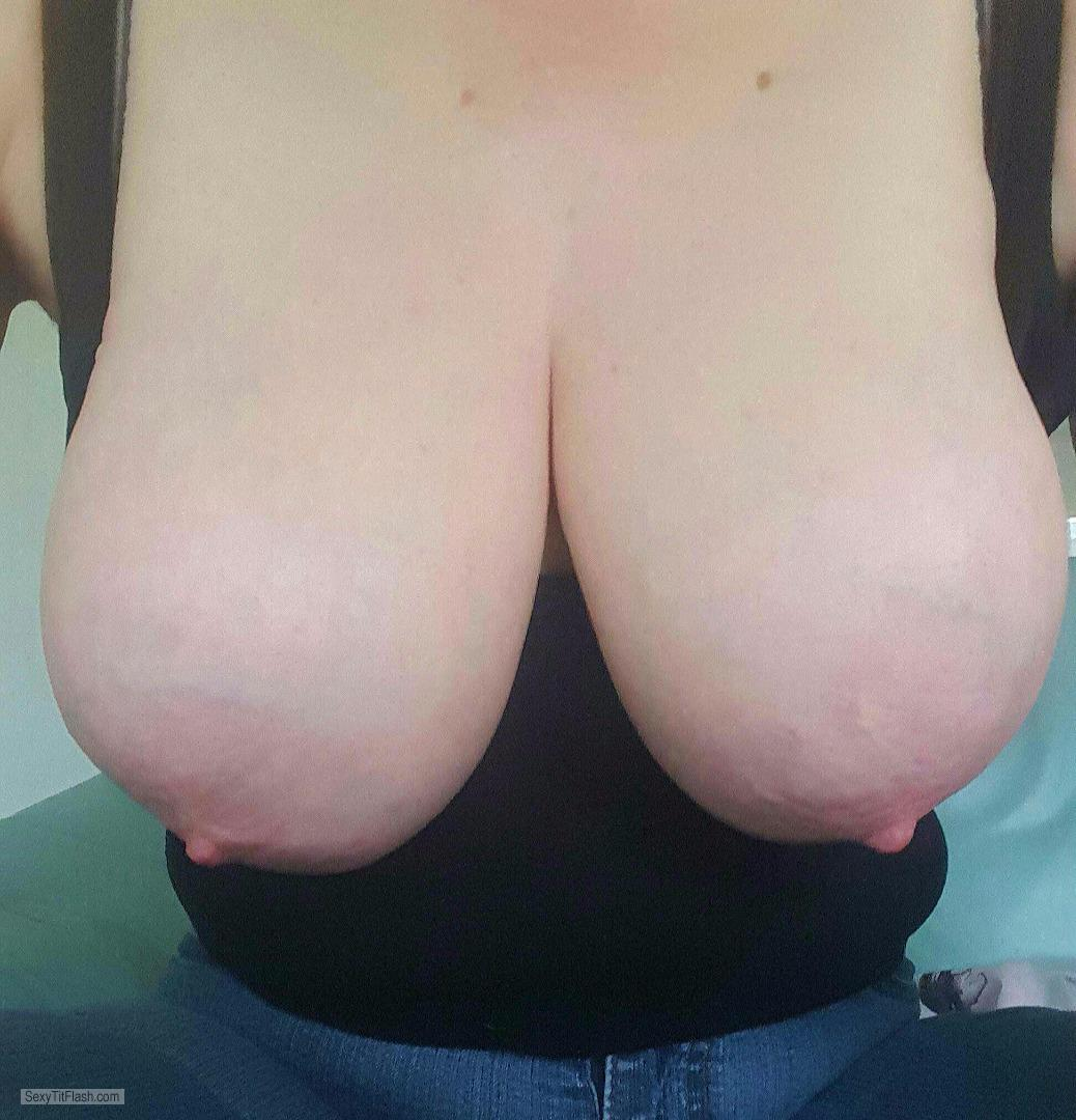 Tit Flash: My Very Big Tits (Selfie) - Topless from United Kingdom