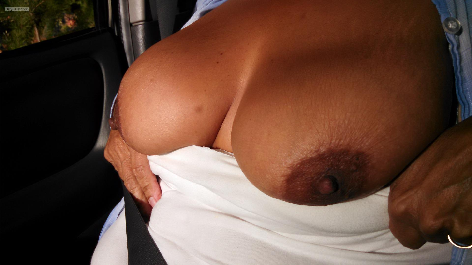 Tit Flash: Wife's Tanlined Very Big Tits - Karentits from United States